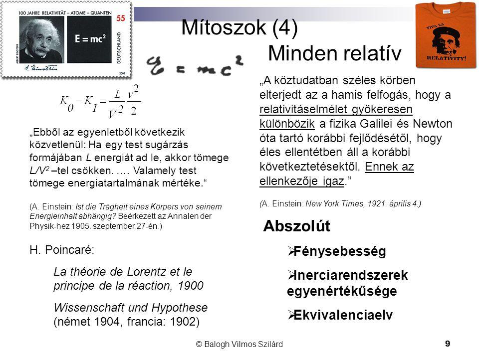 """© Balogh Vilmos Szilárd9 Mítoszok (4) Minden relatív """"Ebből az egyenletből következik közvetlenül: Ha egy test sugárzás formájában L energiát ad le, akkor tömege L/V 2 –tel csökken."""