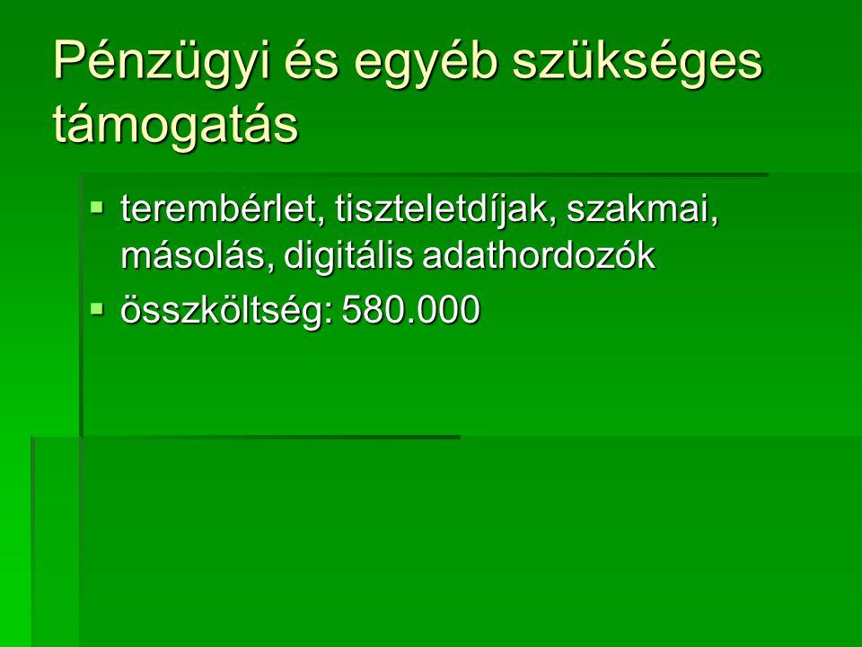 Pénzügyi és egyéb szükséges támogatás  terembérlet, tiszteletdíjak, szakmai, másolás, digitális adathordozók  összköltség: 580.000