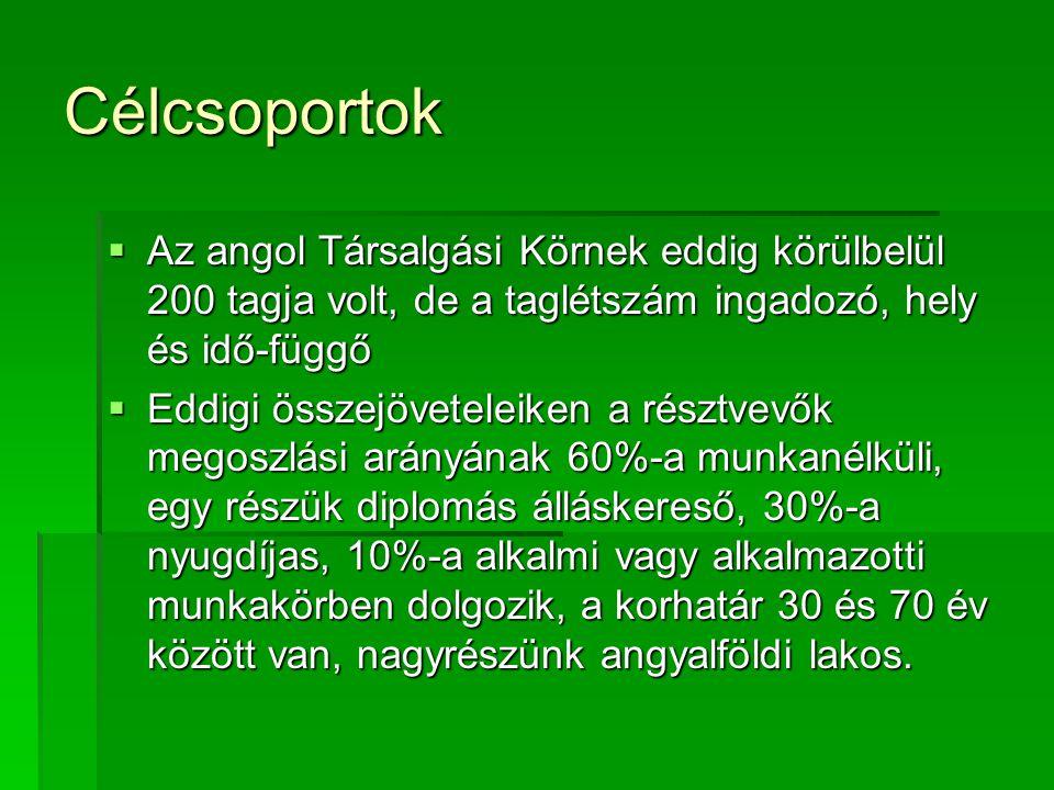 A megvalósításban résztvevő eddigi partnerek  Vízöntő Pinceklub, amely a Bp.