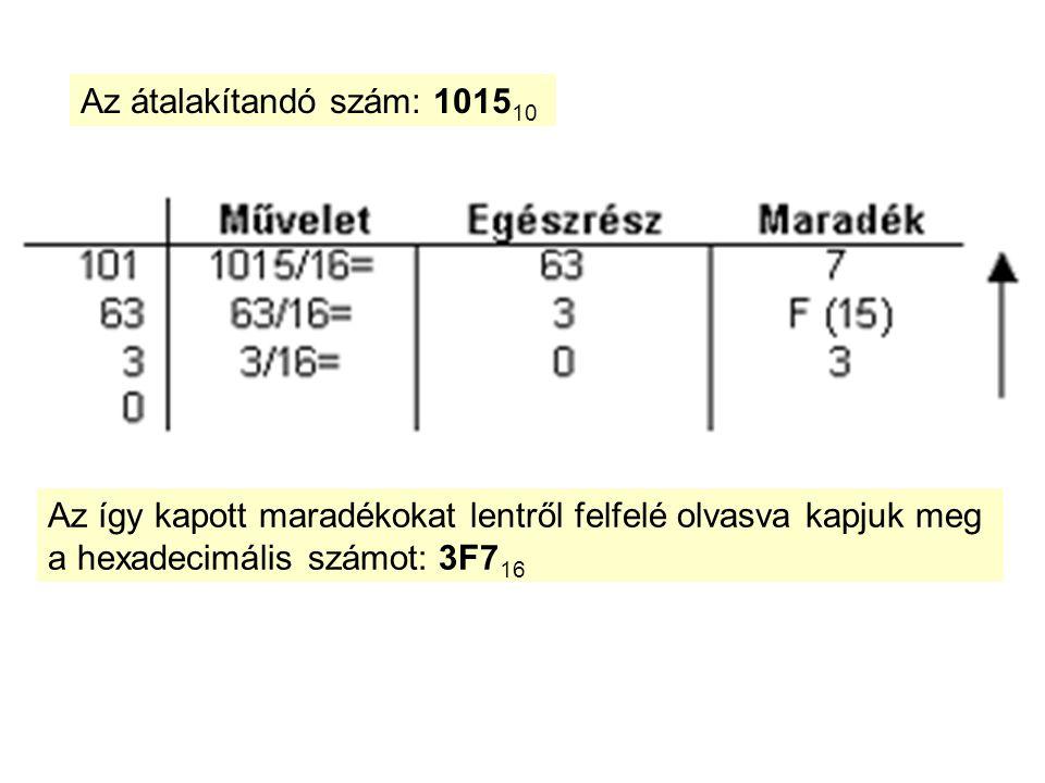 Az átalakítandó szám: 1015 10 Az így kapott maradékokat lentről felfelé olvasva kapjuk meg a hexadecimális számot: 3F7 16