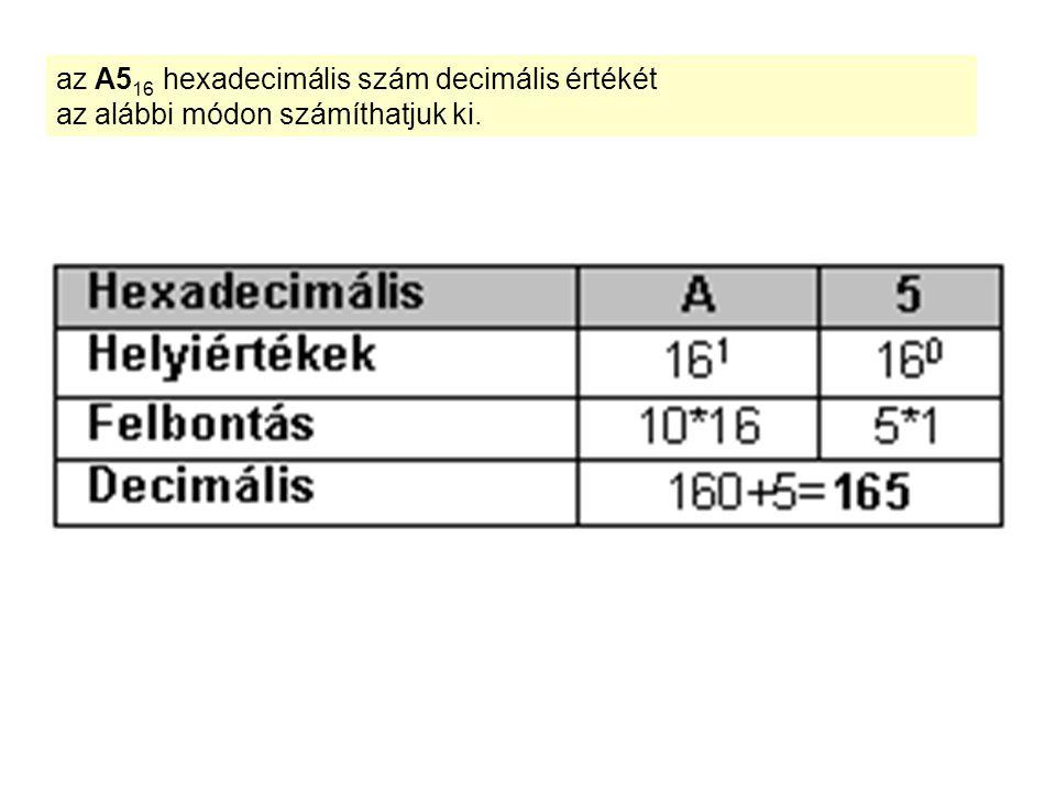 az A5 16 hexadecimális szám decimális értékét az alábbi módon számíthatjuk ki.