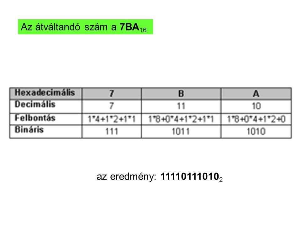 Az átváltandó szám a 7BA 16 az eredmény: 11110111010 2