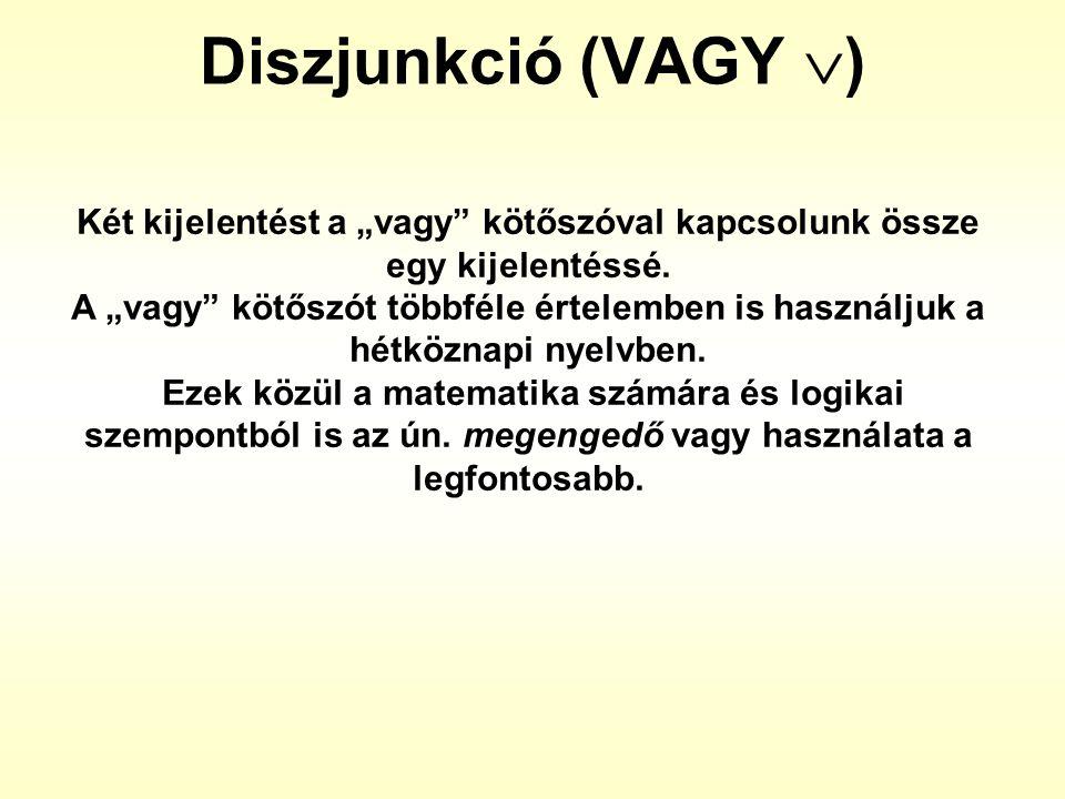 """Diszjunkció (VAGY  ) Két kijelentést a """"vagy"""" kötőszóval kapcsolunk össze egy kijelentéssé. A """"vagy"""" kötőszót többféle értelemben is használjuk a hét"""