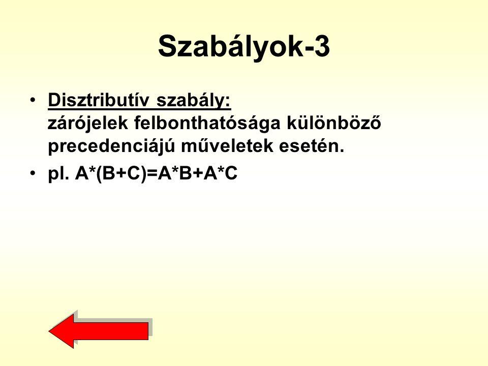 Szabályok-3 •Disztributív szabály: zárójelek felbonthatósága különböző precedenciájú műveletek esetén. •pl. A*(B+C)=A*B+A*C