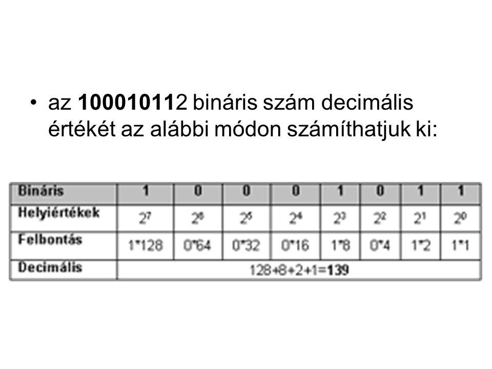 •az 100010112 bináris szám decimális értékét az alábbi módon számíthatjuk ki: