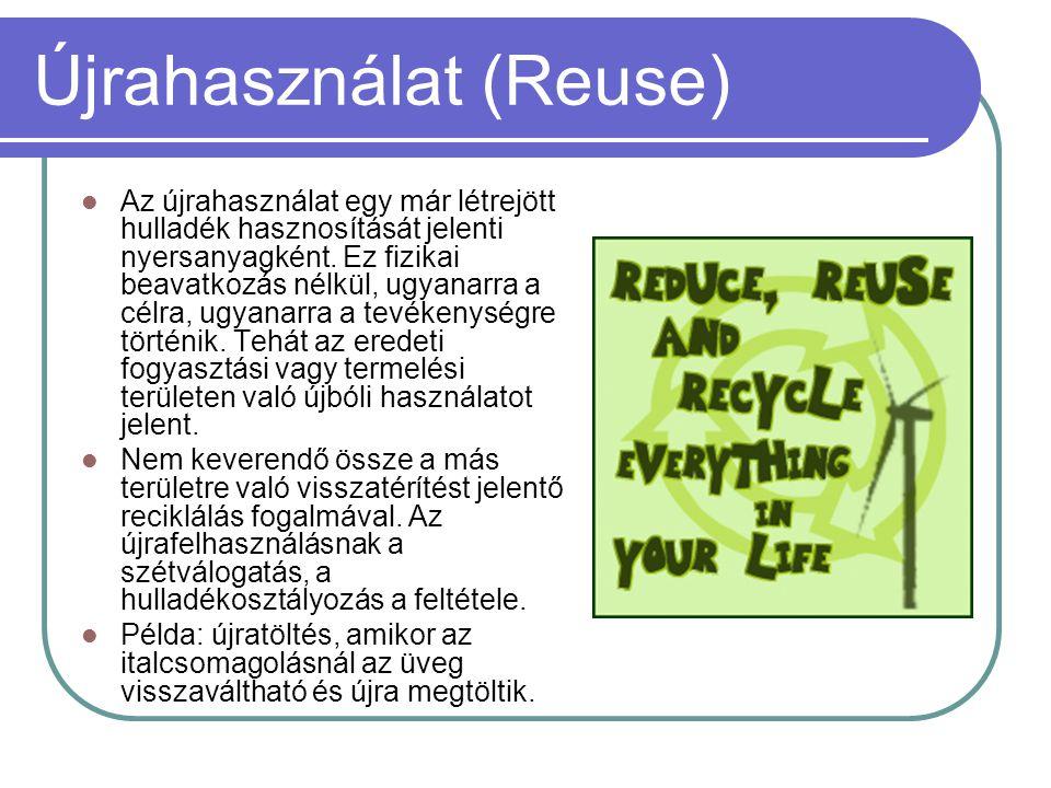 Újrahasználat (Reuse)  Az újrahasználat egy már létrejött hulladék hasznosítását jelenti nyersanyagként. Ez fizikai beavatkozás nélkül, ugyanarra a c