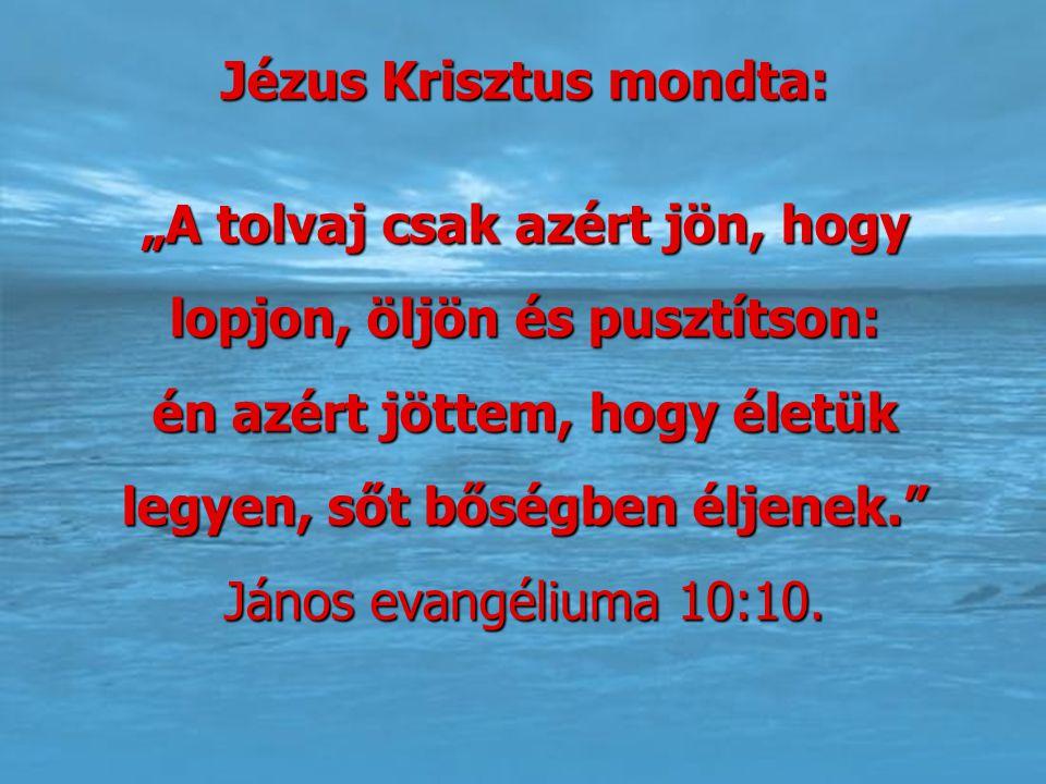 """Jézus Krisztus mondta: """"A tolvaj csak azért jön, hogy lopjon, öljön és pusztítson: én azért jöttem, hogy életük legyen, sőt bőségben éljenek."""" János e"""