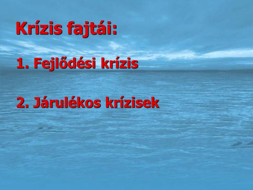 Krízis fajtái: 1. Fejlődési krízis 1. Fejlődési krízis 2. Járulékos krízisek 2. Járulékos krízisek