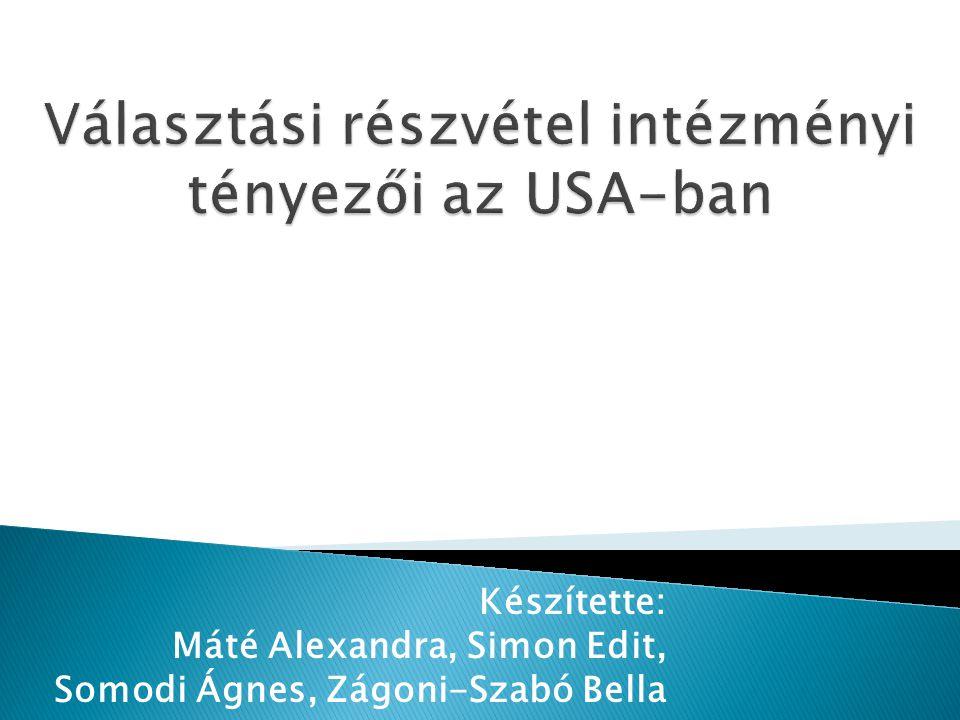 Készítette: Máté Alexandra, Simon Edit, Somodi Ágnes, Zágoni-Szabó Bella