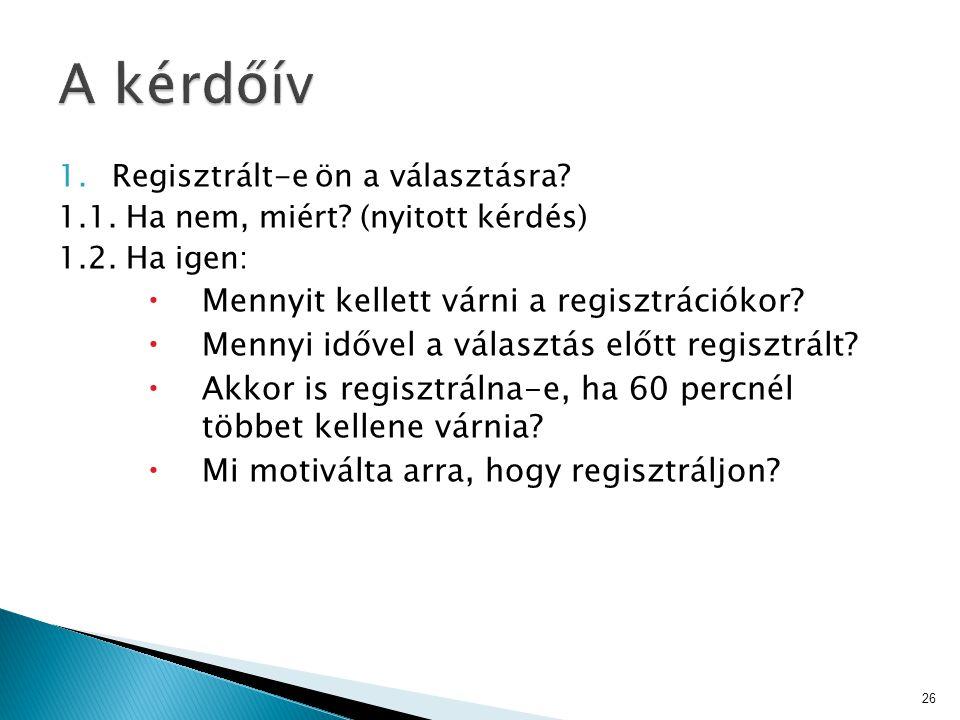 1.Regisztrált-e ön a választásra? 1.1. Ha nem, miért? (nyitott kérdés) 1.2. Ha igen:  Mennyit kellett várni a regisztrációkor?  Mennyi idővel a vála