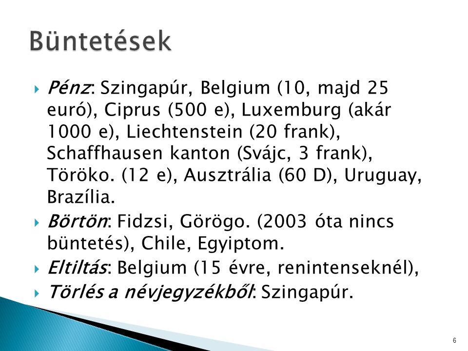  Pénz: Szingapúr, Belgium (10, majd 25 euró), Ciprus (500 e), Luxemburg (akár 1000 e), Liechtenstein (20 frank), Schaffhausen kanton (Svájc, 3 frank)