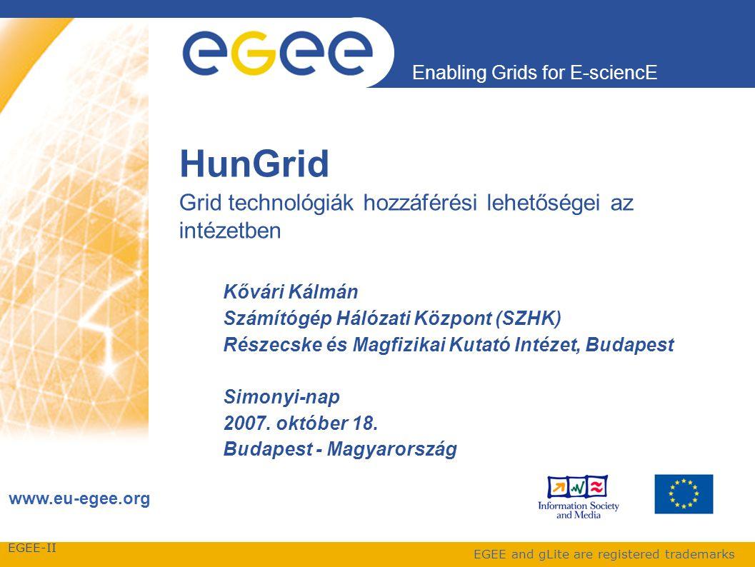 EGEE-II Enabling Grids for E-sciencE www.eu-egee.org EGEE and gLite are registered trademarks HunGrid Grid technológiák hozzáférési lehetőségei az intézetben Kővári Kálmán Számítógép Hálózati Központ (SZHK) Részecske és Magfizikai Kutató Intézet, Budapest Simonyi-nap 2007.