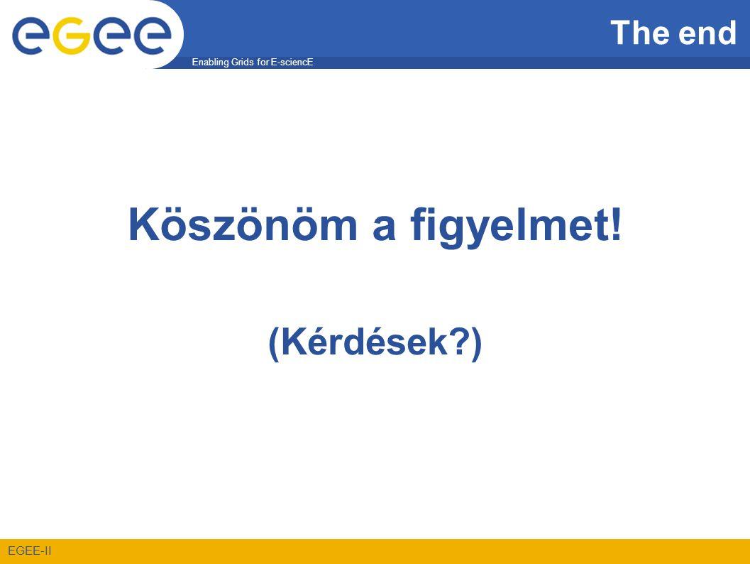 Enabling Grids for E-sciencE EGEE-II The end Köszönöm a figyelmet! (Kérdések?)