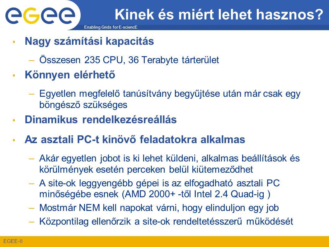 Enabling Grids for E-sciencE EGEE-II Kinek és miért lehet hasznos? • Nagy számítási kapacitás –Összesen 235 CPU, 36 Terabyte tárterület • Könnyen elér