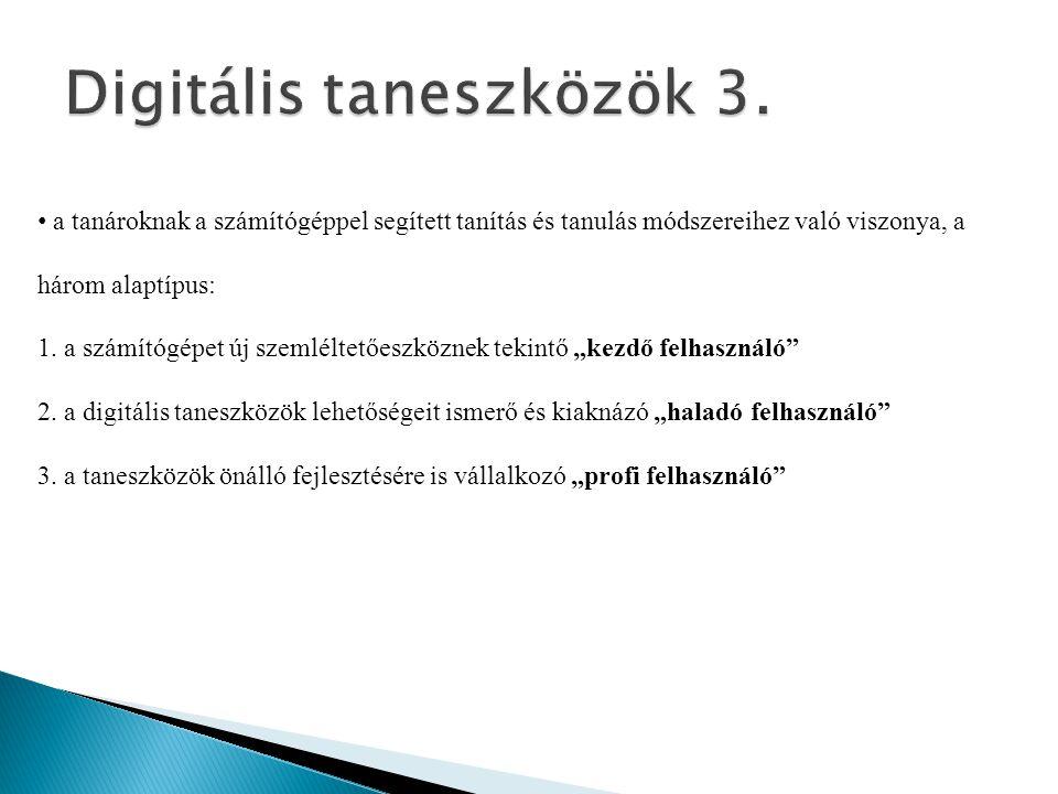 • a tanároknak a számítógéppel segített tanítás és tanulás módszereihez való viszonya, a három alaptípus: 1. a számítógépet új szemléltetőeszköznek te