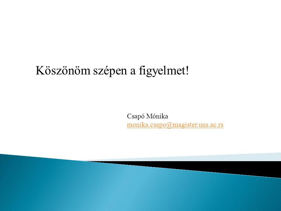 Köszönöm szépen a figyelmet! Csapó Mónika monika.csapo@magister.uns.ac.rs