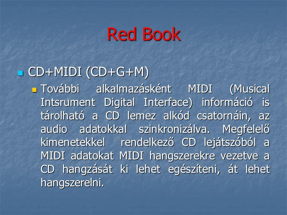Red Book  CD+MIDI (CD+G+M)  További alkalmazásként MIDI (Musical Intsrument Digital Interface) információ is tárolható a CD lemez alkód csatornáin,