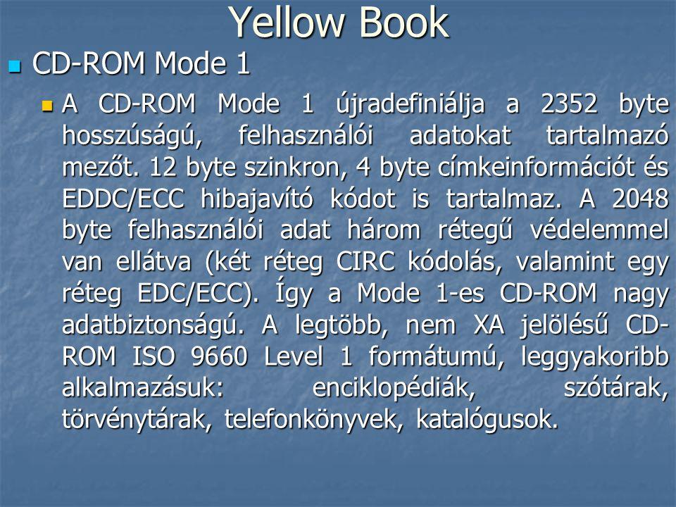 Yellow Book  CD-ROM Mode 1  A CD-ROM Mode 1 újradefiniálja a 2352 byte hosszúságú, felhasználói adatokat tartalmazó mezőt. 12 byte szinkron, 4 byte