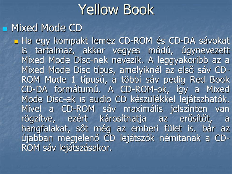 Yellow Book  Mixed Mode CD  Ha egy kompakt lemez CD-ROM és CD-DA sávokat is tartalmaz, akkor vegyes módú, úgynevezett Mixed Mode Disc-nek nevezik. A