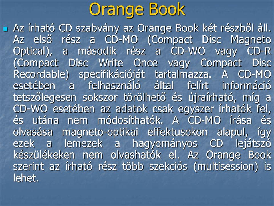 Orange Book  Az írható CD szabvány az Orange Book két részből áll. Az első rész a CD-MO (Compact Disc Magneto Optical), a második rész a CD-WO vagy C