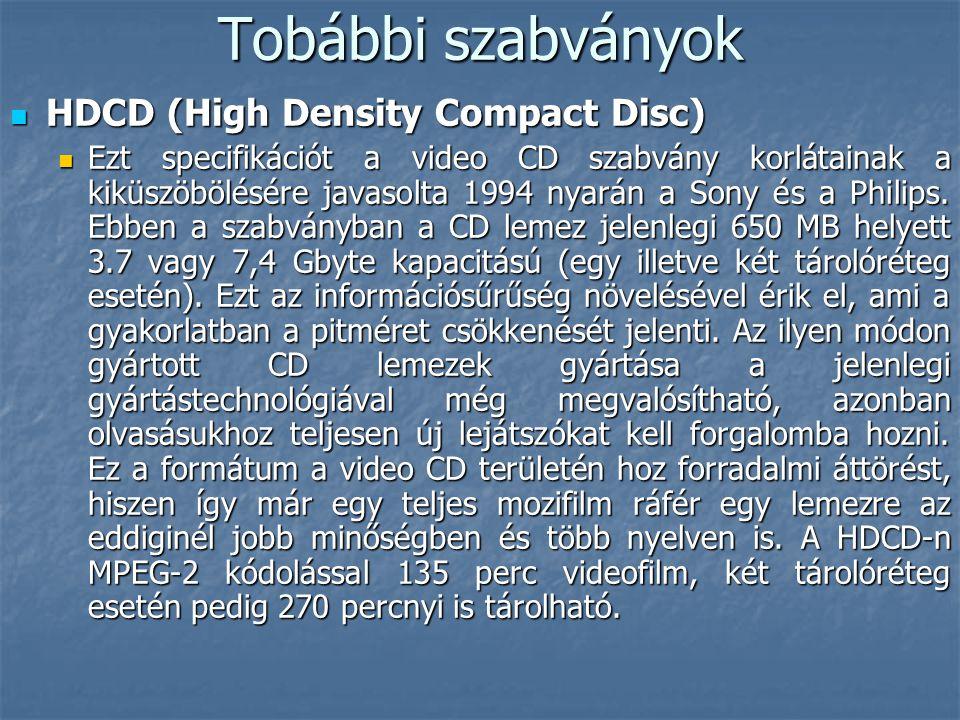 Tobábbi szabványok  HDCD (High Density Compact Disc)  Ezt specifikációt a video CD szabvány korlátainak a kiküszöbölésére javasolta 1994 nyarán a So
