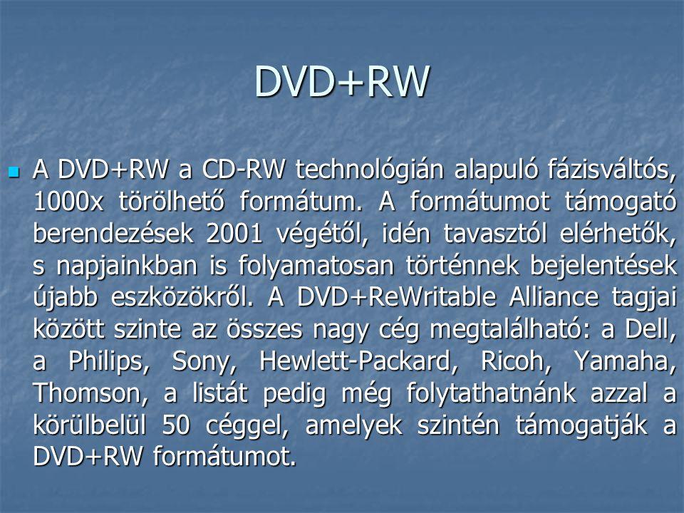 DVD+RW  A DVD+RW a CD-RW technológián alapuló fázisváltós, 1000x törölhető formátum. A formátumot támogató berendezések 2001 végétől, idén tavasztól