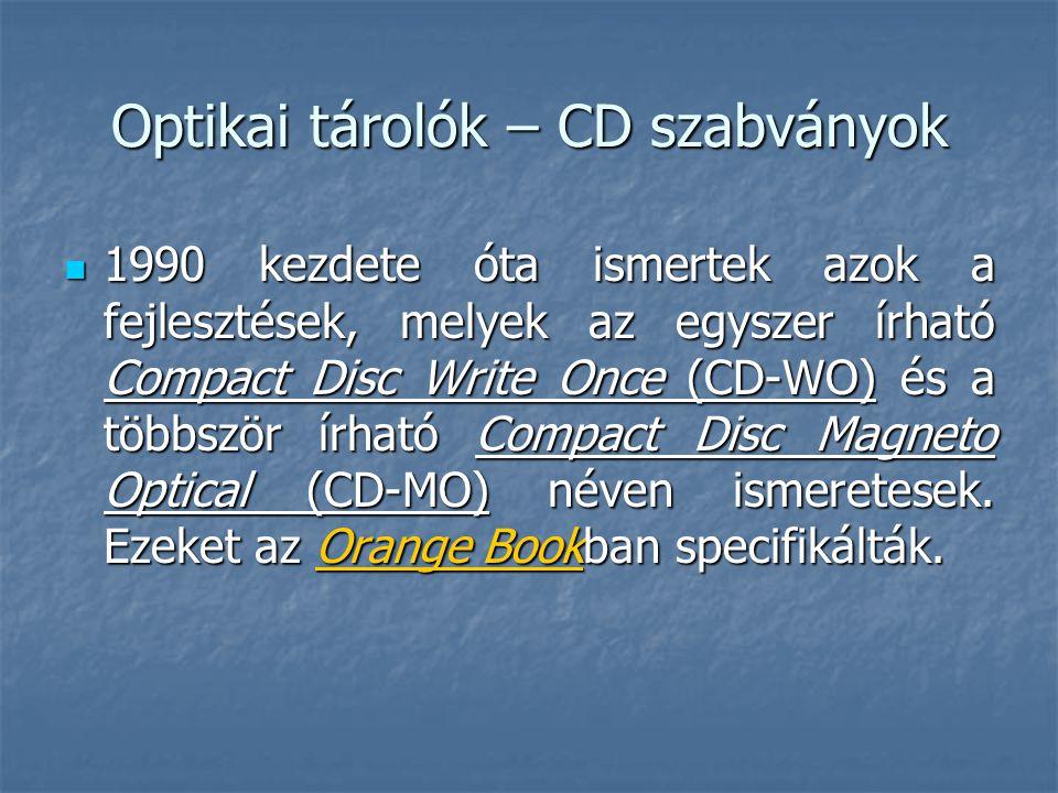 Optikai tárolók – CD szabványok  1990 kezdete óta ismertek azok a fejlesztések, melyek az egyszer írható Compact Disc Write Once (CD-WO) és a többszö
