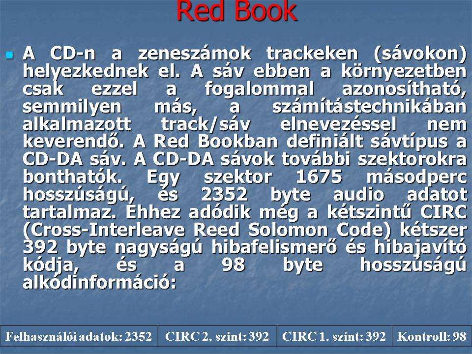 Red Book  A CD-n a zeneszámok trackeken (sávokon) helyezkednek el. A sáv ebben a környezetben csak ezzel a fogalommal azonosítható, semmilyen más, a
