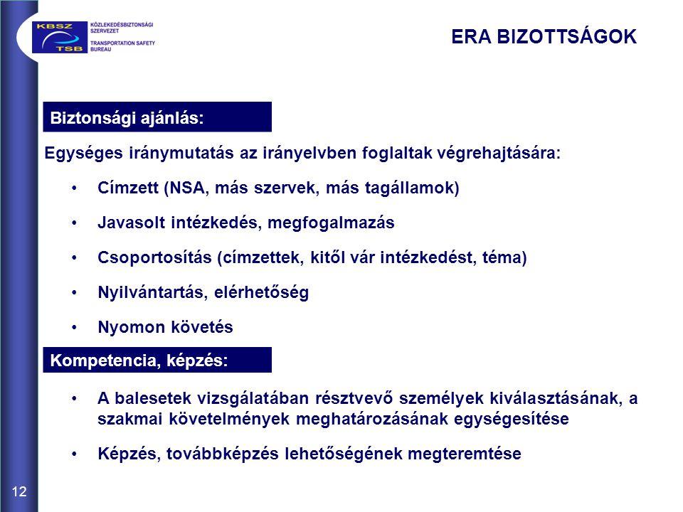 12 Egységes iránymutatás az irányelvben foglaltak végrehajtására: •Címzett (NSA, más szervek, más tagállamok) •Javasolt intézkedés, megfogalmazás •Cso