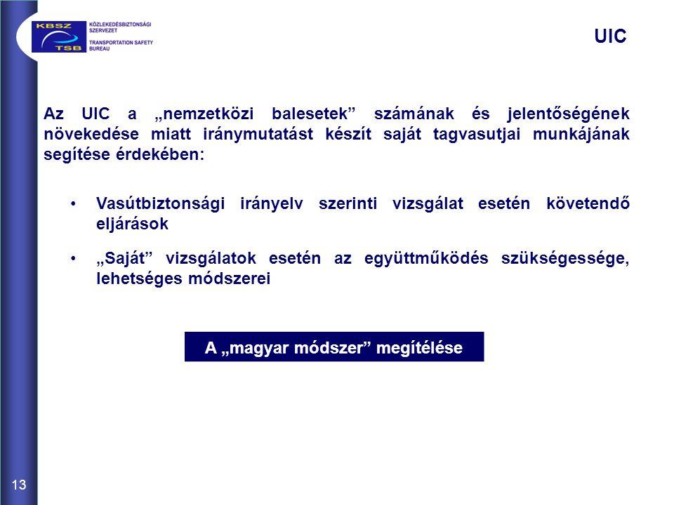 """13 UIC Az UIC a """"nemzetközi balesetek"""" számának és jelentőségének növekedése miatt iránymutatást készít saját tagvasutjai munkájának segítése érdekébe"""