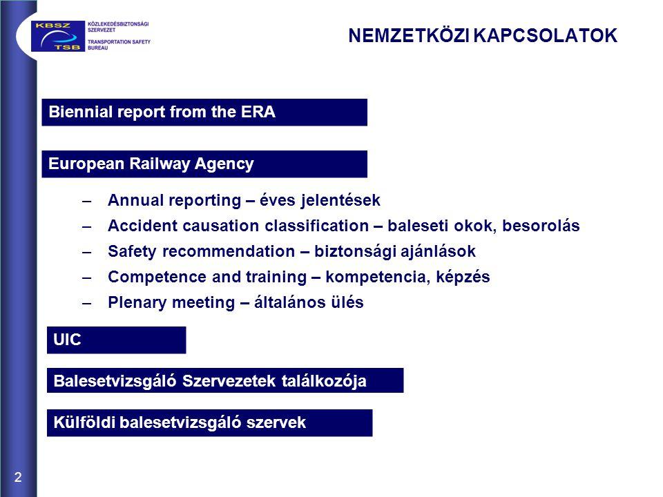 Biennial report from the ERA 2 European Railway Agency –Annual reporting – éves jelentések –Accident causation classification – baleseti okok, besorol