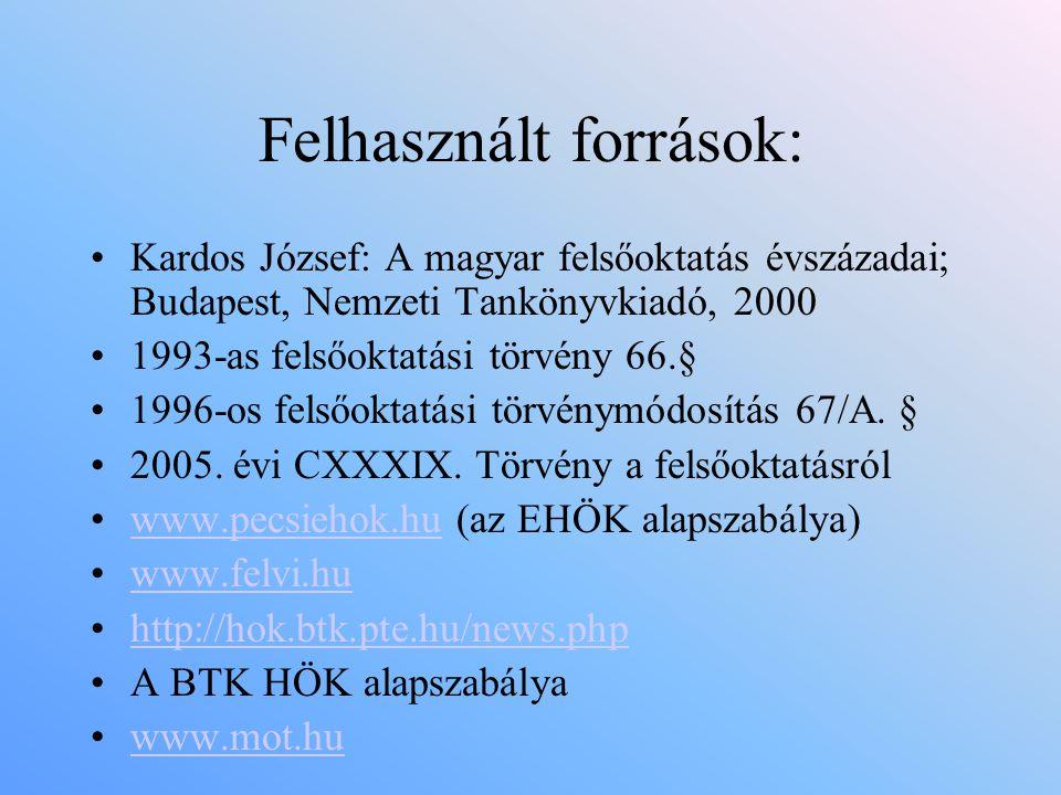Felhasznált források: •Kardos József: A magyar felsőoktatás évszázadai; Budapest, Nemzeti Tankönyvkiadó, 2000 •1993-as felsőoktatási törvény 66.§ •199