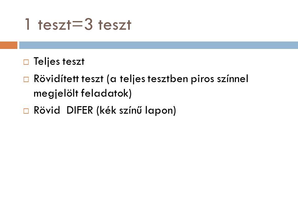 1 teszt=3 teszt  Teljes teszt  Rövidített teszt (a teljes tesztben piros színnel megjelölt feladatok)  Rövid DIFER (kék színű lapon)