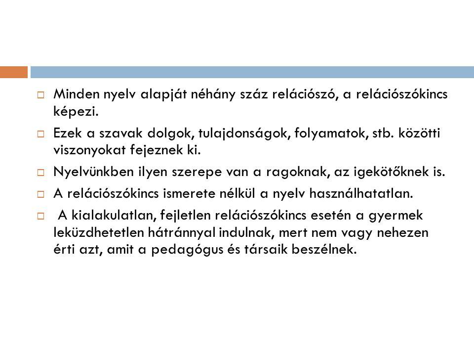  Minden nyelv alapját néhány száz relációszó, a relációszókincs képezi.