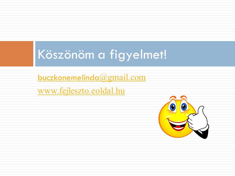 buczkonemelinda @gmail.com www.fejleszto.eoldal.hu Köszönöm a figyelmet!