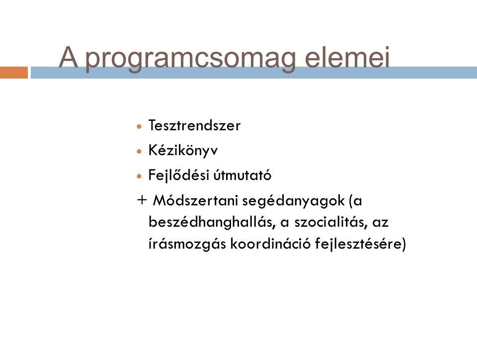 A programcsomag elemei  Tesztrendszer  Kézikönyv  Fejlődési útmutató + Módszertani segédanyagok (a beszédhanghallás, a szocialitás, az írásmozgás k
