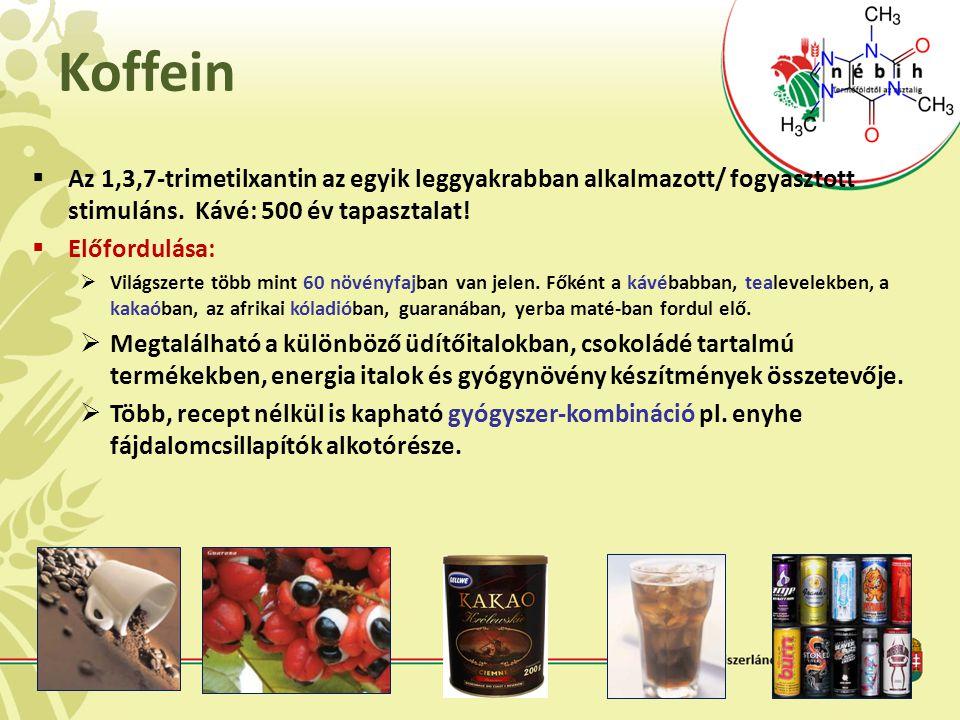 Koffein  Az 1,3,7-trimetilxantin az egyik leggyakrabban alkalmazott/ fogyasztott stimuláns. Kávé: 500 év tapasztalat!  Előfordulása:  Világszerte t