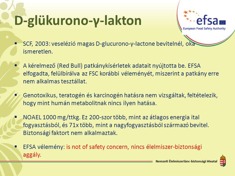 D-glükurono-γ-lakton  SCF, 2003: veselézió magas D-glucurono-γ-lactone bevitelnél, oka ismeretlen.  A kérelmező (Red Bull) patkánykísérletek adatait