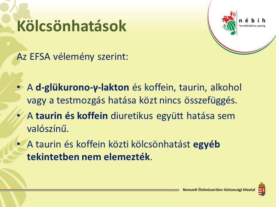 Kölcsönhatások Az EFSA vélemény szerint: • A d-glükurono-γ-lakton és koffein, taurin, alkohol vagy a testmozgás hatása közt nincs összefüggés. • A tau