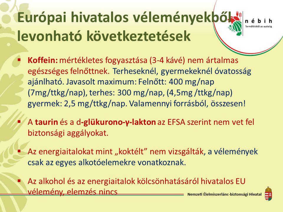 Európai hivatalos véleményekből levonható következtetések  Koffein: mértékletes fogyasztása (3-4 kávé) nem ártalmas egészséges felnőttnek. Terhesekné