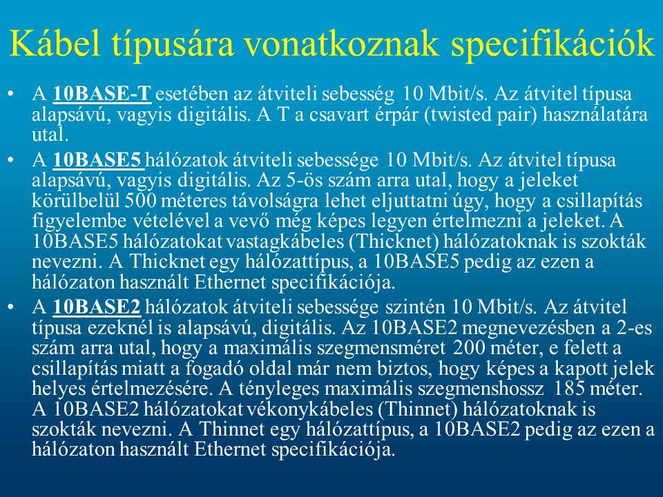 •A 10BASE-T esetében az átviteli sebesség 10 Mbit/s. Az átvitel típusa alapsávú, vagyis digitális. A T a csavart érpár (twisted pair) használatára uta