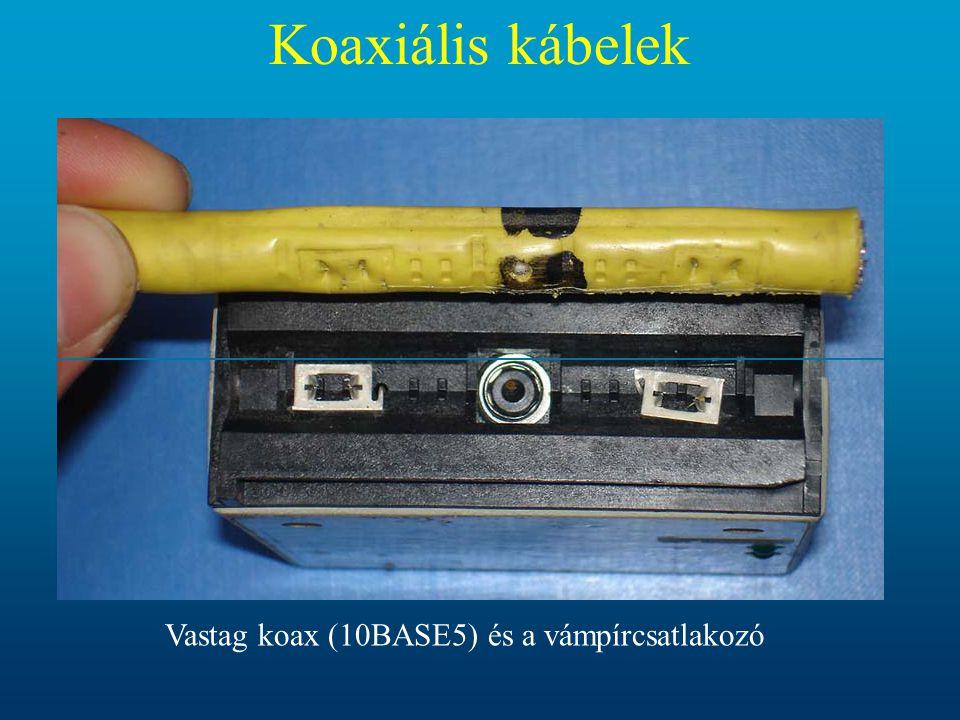 Koaxiális kábelek Vastag koax (10BASE5) és a vámpírcsatlakozó