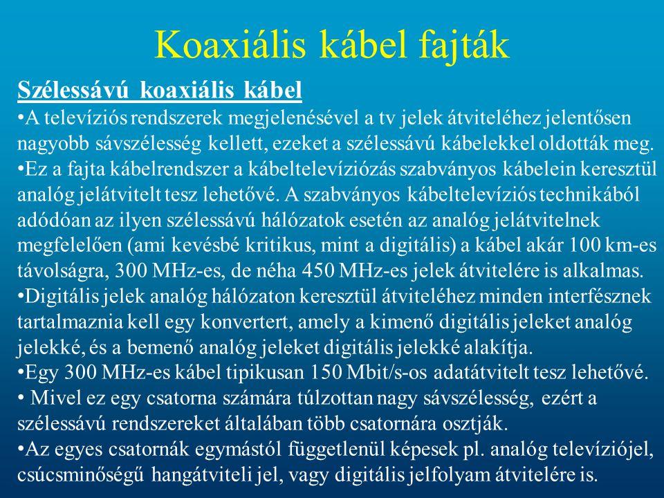 Koaxiális kábel fajták Szélessávú koaxiális kábel • A televíziós rendszerek megjelenésével a tv jelek átviteléhez jelentősen nagyobb sávszélesség kell