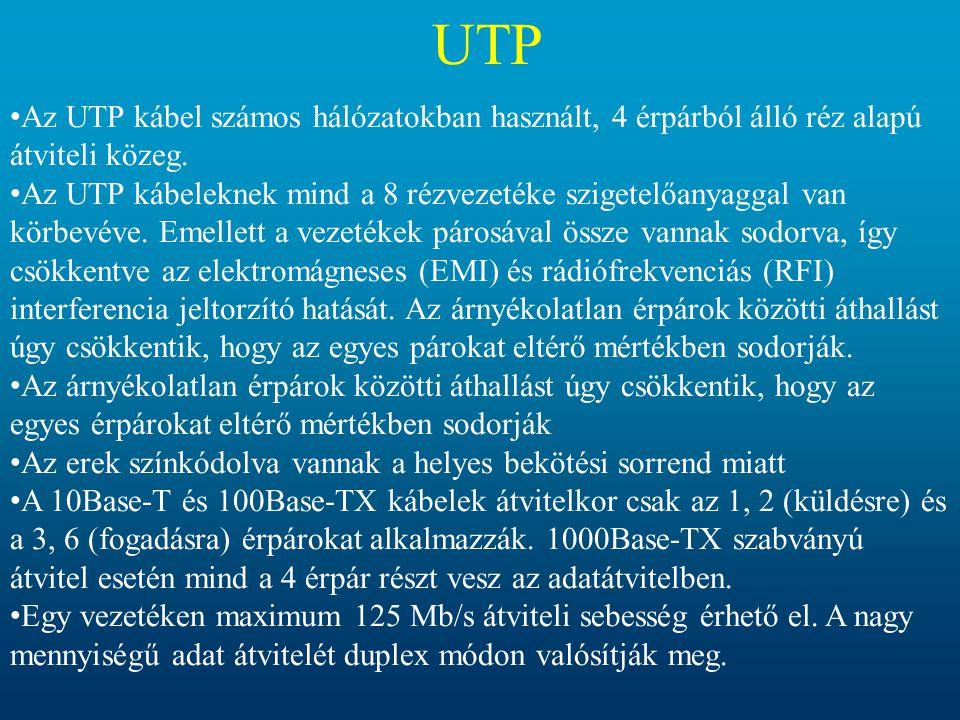 UTP • Az UTP kábel számos hálózatokban használt, 4 érpárból álló réz alapú átviteli közeg. • Az UTP kábeleknek mind a 8 rézvezetéke szigetelőanyaggal