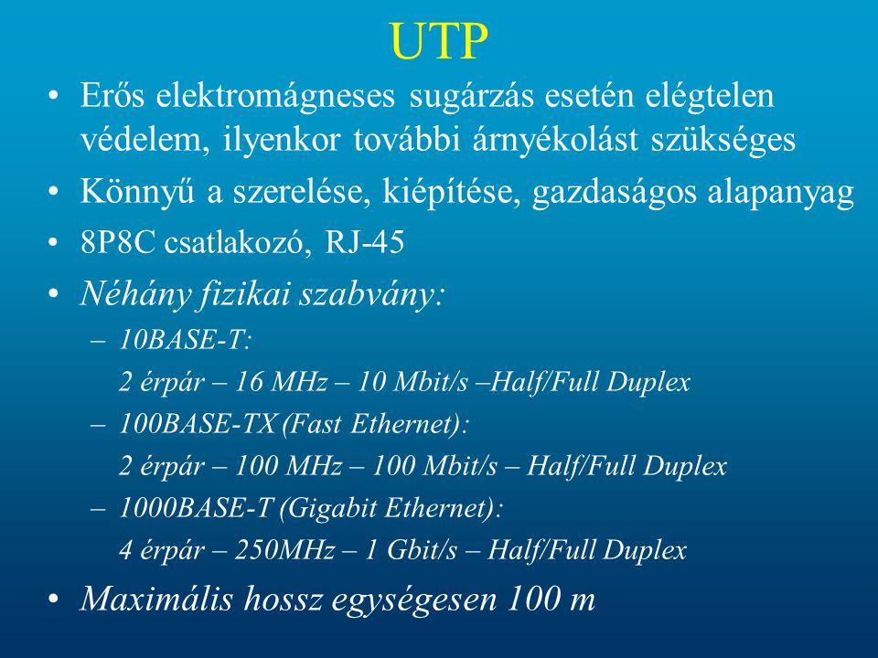 UTP •Erős elektromágneses sugárzás esetén elégtelen védelem, ilyenkor további árnyékolást szükséges •Könnyű a szerelése, kiépítése, gazdaságos alapany