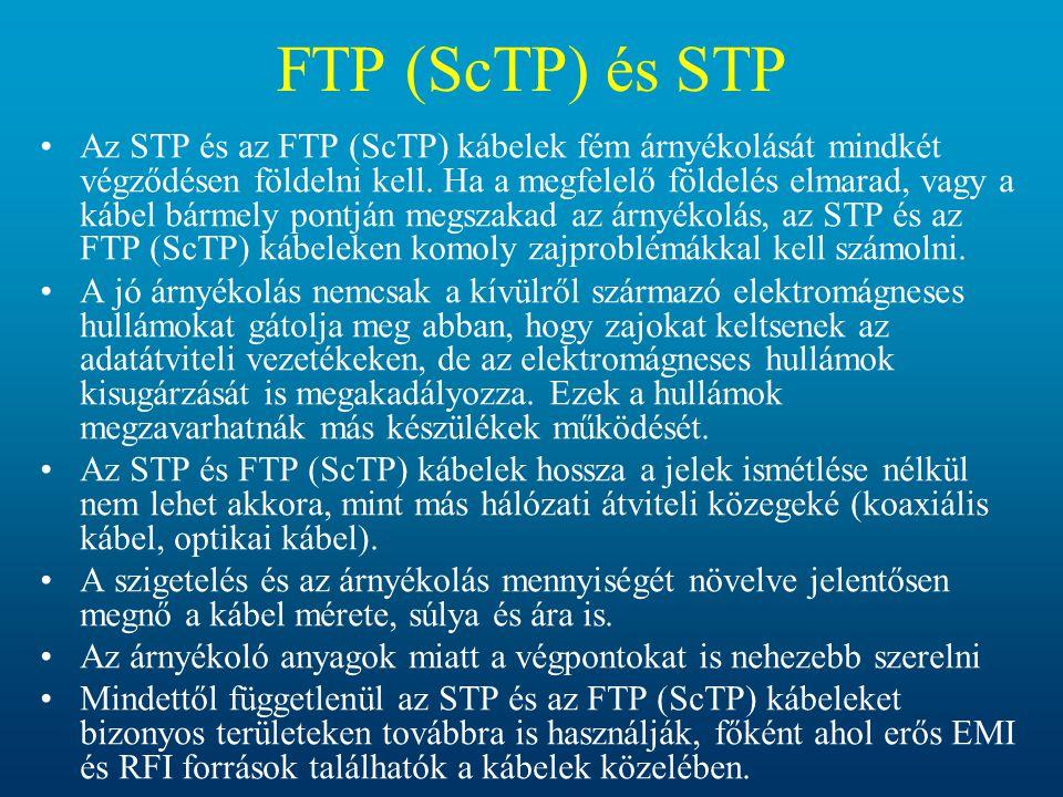 •Az STP és az FTP (ScTP) kábelek fém árnyékolását mindkét végződésen földelni kell. Ha a megfelelő földelés elmarad, vagy a kábel bármely pontján megs