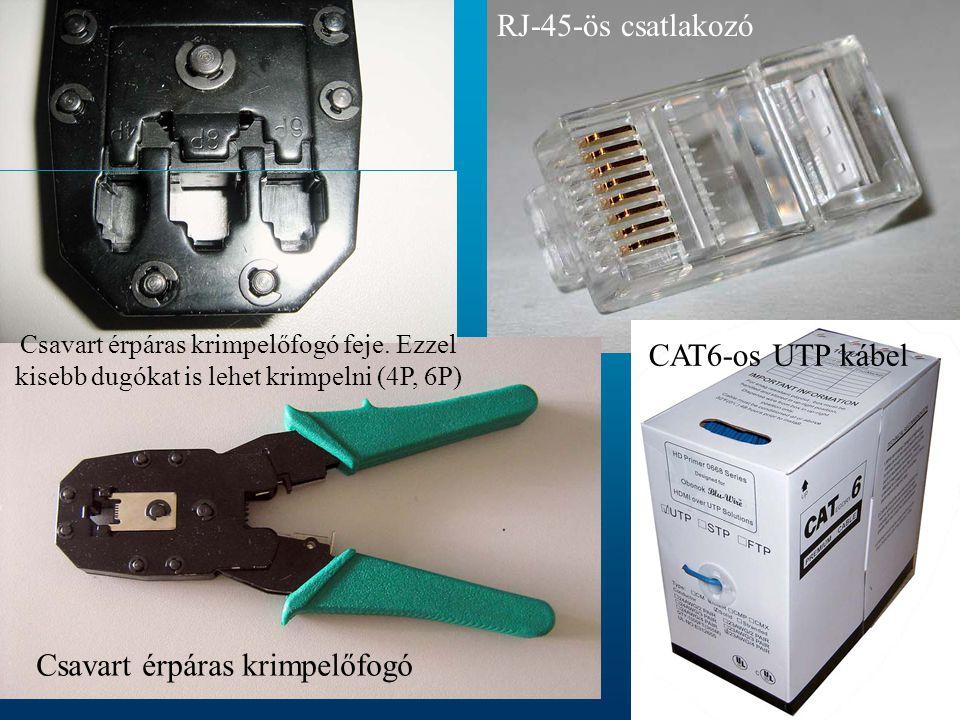 RJ-45-ös csatlakozó Csavart érpáras krimpelőfogó Csavart érpáras krimpelőfogó feje. Ezzel kisebb dugókat is lehet krimpelni (4P, 6P) CAT6-os UTP kábel