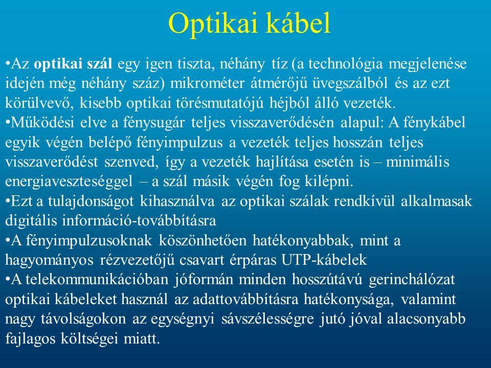 Optikai kábel • Az optikai szál egy igen tiszta, néhány tíz (a technológia megjelenése idején még néhány száz) mikrométer átmérőjű üvegszálból és az e