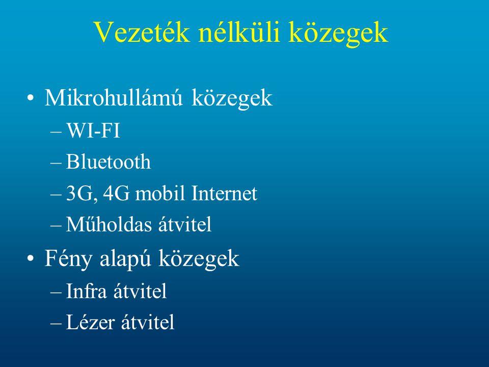Vezeték nélküli közegek •Mikrohullámú közegek –WI-FI –Bluetooth –3G, 4G mobil Internet –Műholdas átvitel •Fény alapú közegek –Infra átvitel –Lézer átv