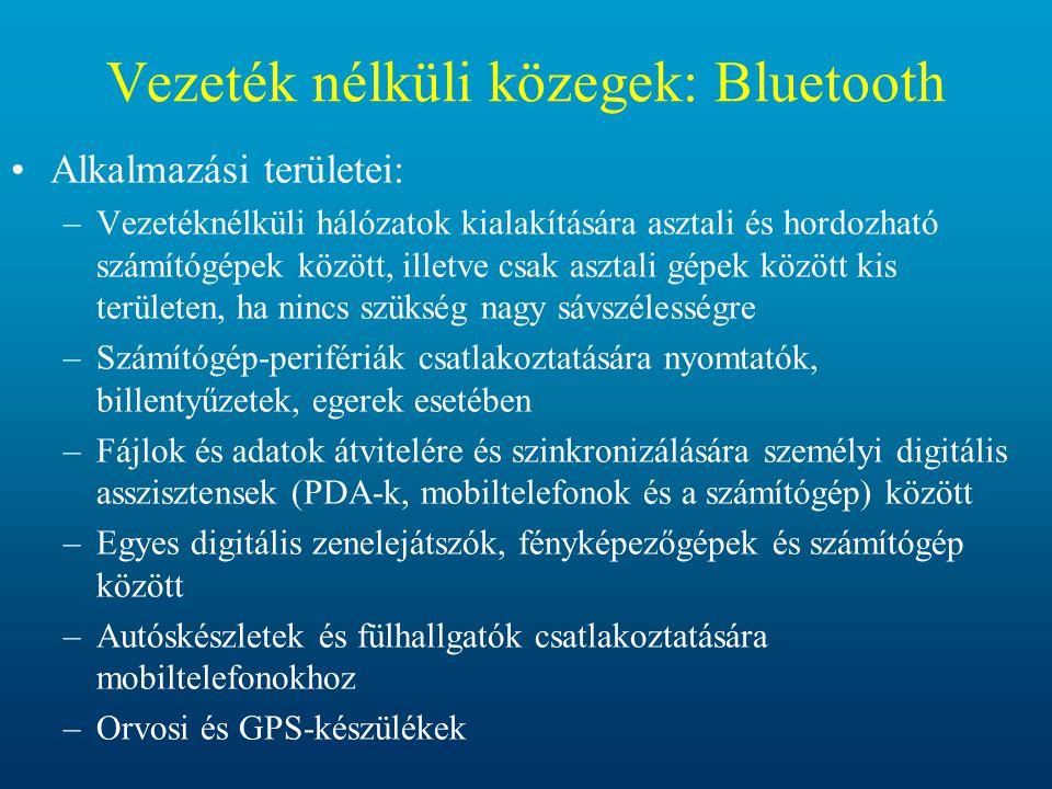 Vezeték nélküli közegek: Bluetooth •Alkalmazási területei: –Vezetéknélküli hálózatok kialakítására asztali és hordozható számítógépek között, illetve